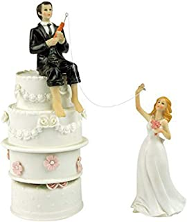 Cake Hooked On Love Fishing Groom Catching Bride Funny Wedding Cake Topper Decor- Bride and Groom Set