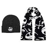 Jack Skellington Winter Hat and Scarf Fan Accessory Black