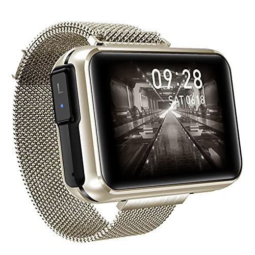 Gmjay 2 en 1 TWS Auriculares Inalámbricos Bluetooth Reloj Inteligente 1.4'Pulsera de Pantalla Bluetooth 5.0 Auriculares Fitness Tracker Pulsera Inteligente,Gold