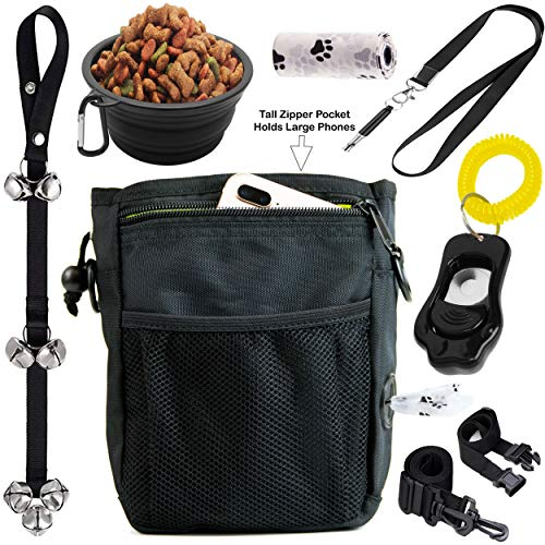 6 in 1 Puppy and Dog Training Essential Kit - Dog Treat Training Pouch, Bark Control Whistle, House Training Doorbells, Pet Clicker, Dog Bowl, and Waste Bag Ideal for First Time Pet Owners