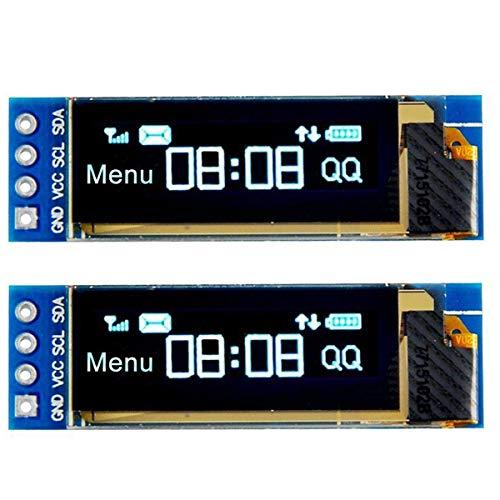 MakerHawk I2C OLED Anzeigemodul I2C SSD1306 Bildschirm Winziges Modul 0,91 Zoll Blau 128X32 I2C OLED-Treiber DC 3,3 V bis 5 V für Arduino (2er-Pack)
