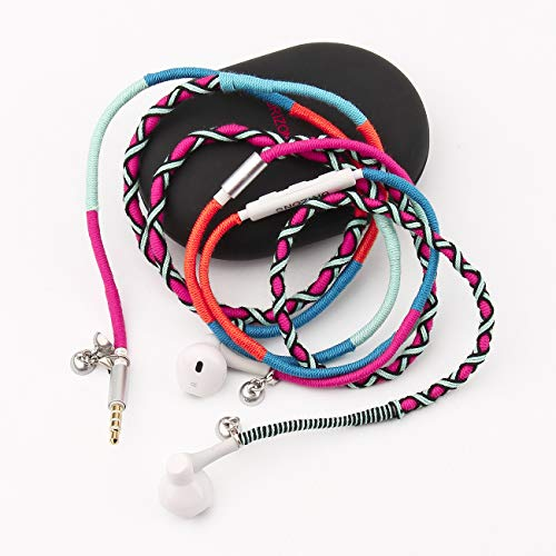 URIZONS auriculares con micrófono y control remoto para iPhone iPad iPod Mac tabletas portátiles Android Smartphones Trenzado tejido a mano Tribe hilo pulsera envuelta (UH-002MZF007)