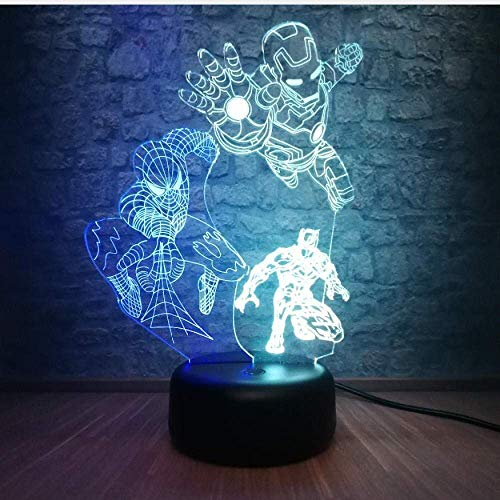 Dalovy Festival 3D Optische 3D Visual Illusion Lamp Led Iron Spider Man Batman Night Light Birthday Toy For Kids 7 Color Touch Usb Marvel Superhero Bedside Decorations Table Lamp