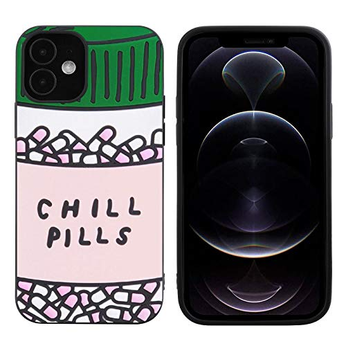 Customized Chill Pills iPhone 12 Case Black Soft TPU Protective Shockproof Non-Slip Phone case for iPhone 12 6.1 inches 2020 Release