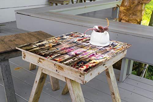 Wallario Aufkleber Selbstklebende Garten-Tisch-Decke - Bemalte Holzplanken mit Alter Schrift in 50 x 50 cm
