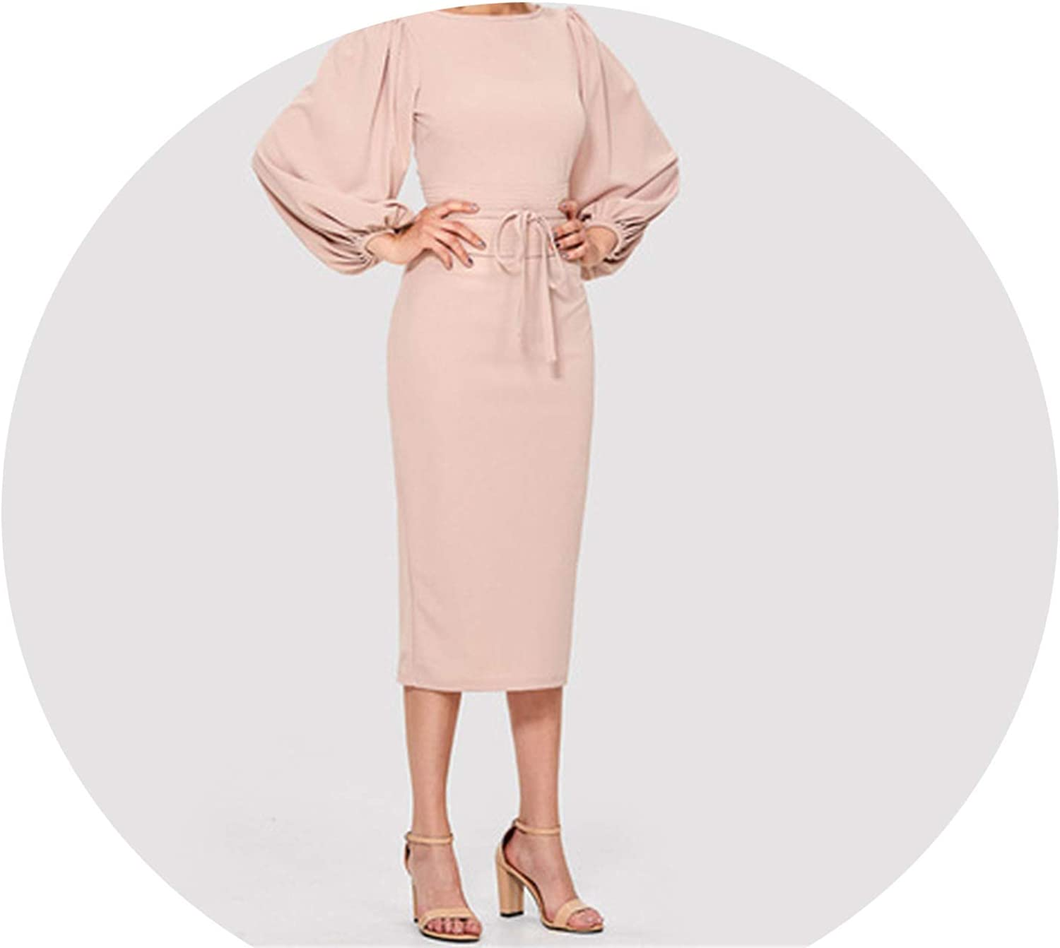 colorfulspace Pink Elegant Tie Waist Boat Neck Bishop Long Sleeve Solid Dress 2018 New Women MidCalf Belted Party Dresses