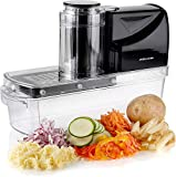 Mandoline Slicer | Vegetable Food Slicer Cutter with 3 Stainless Steel Slicing Blades | 3 Attachments Including French Fry Cutter & Ice Shaver | 3 Food Pushers | One Touch Operation for Easy Slicing | Andrew James