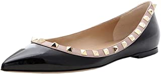 Pointed Toe Flats for Women, Fashion Rivets Studs Comfort Ballet Flats Shoes