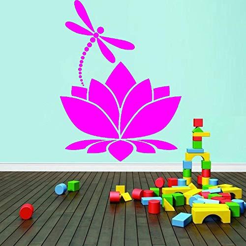 Lotus Flower Dragonfly Vinilo Etiqueta de la pared Decoración para el hogar Meditación Yoga Studio Room Decoración Tatuajes de pared Dormitorio de las niñas Mural color-2 28x38cm