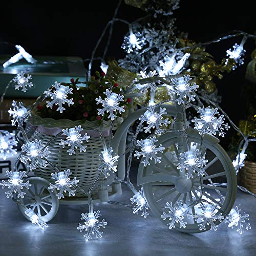 Christmas Winter Snowflake Lights Decoration, 19.68ft 40 LEDs New Year Waterproof Fairy Xmas Garland String Light for Christmas Tree, Home, Festival Party, Wedding, Indoor Outdoor (White)