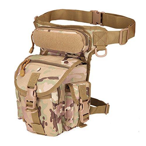 Woopower Bolsa multiusos para motocicleta, impermeable, táctica, bolsa de muslo militar, riñonera,...