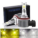 【令和2年最新モデル】SUPAREE H8/H11 LEDフォグランプ 2色切り替え ホワイト(6000K)/イエロー(3000K) 車検対応 DC12-24V 24W 車用LEDバルブ 2個セット 1年保証