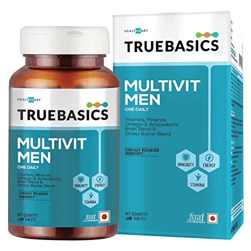 TrueBasics Multivit Men, Multivitamin For Men, Multivitamins with Zinc, Vitamin C, Vitamin D, Vitamin B12, and Multiminerals, Omega 3, Nutrition Supplement for Energy, Immunity & Stamina ( 30 Multivitamin Capsules )