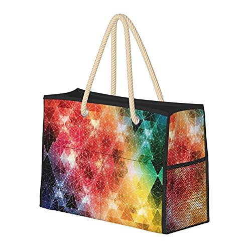 Coloridos copos de nieve en forma de diamante, resistente al agua, gran bolsa de playa de paja, bolso de playa, bolso de hombro, para gimnasio, playa, viajes, bolsas diarias