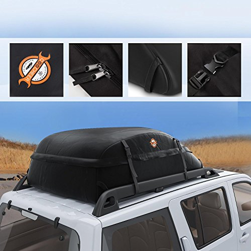 Tomasa Faltbare Auto Dachbox 105×90×45cm Wasserdichte Dachtasche Aufbewahrungsbox Träger Dach Fracht Beutel Kasten für Reise und Gepäcktransport (DE Lager)