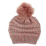 Gorro para mujer, con pompón de pelo sintético, cálido, tejido suave y elástico, terciopelo térmico, color rosa