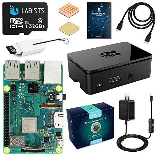 ABOX Raspberry Pi 3 Model b+ ラズベリーパイ 3 b+【2018新型】 MicroSDHCカード32G/カードリーダ /5V/2.5A スイッチ付電源/高品質HDMIケーブルライン/ヒートシンク /簡単に取り付けケース /日本語取扱説明書