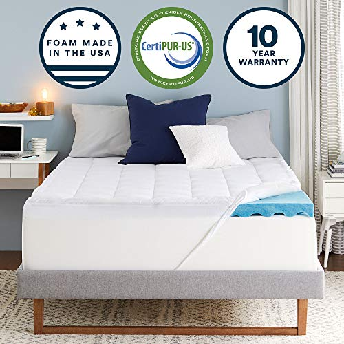 Sleep Innovations 4-inch Dual Layer Gel Memory Foam Mattress Topper with Ultra Soft Support, Twin, Made in The USA with a 10-Year Warranty, White