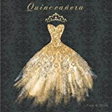 Quinceañera Guest Book: 15h Birthday Party Guestbook Guests Signing In and Memory Keepsake Gift Black and Gold Diamond Dress & Crown (Quinceanera Guest Books)