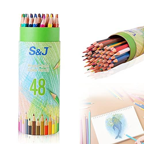 Buntstifte Kinder, 48 PCS Farbstifte, Mehrfarbige Kunst Bleistifte, Buntstiften Set Farbe, Farbe Holzstifte, für Kinder und Erwachsene, das Pinselmuster Kann Individuell Angepasst Werden