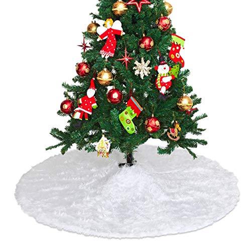 LIHAO 90cm Weihnachtsbaumdecke Weihnachtsbaum Rock Rund Weiß Weihnachtsbaumrock Christbaumdecke Plüsch Weiß Baum Röcke Christbaumständer Teppich für Weihnachten Deko