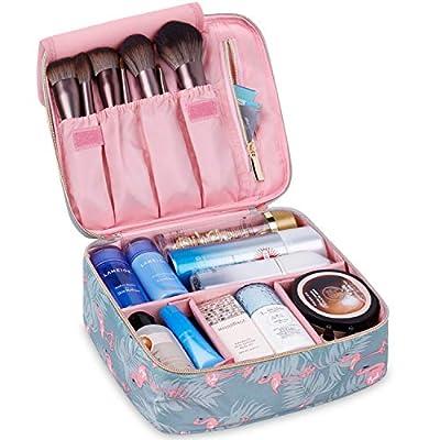 Travel Makeup Bag Large Cosmetic Bag Make up Case Organizer for Women and Girls (Flamingo)