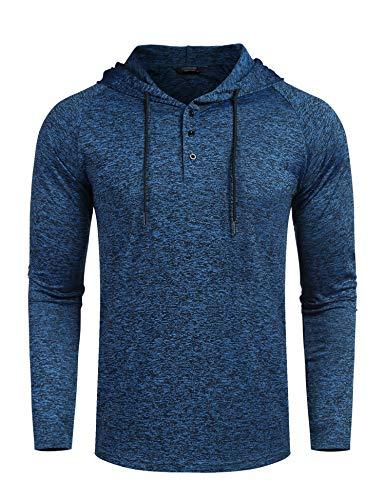 COOFANDY Herren Langarm Shirt Pullover Sweatshirt Baumwol Rundhals-Ausschnitt Slim Fit Winter Sommer