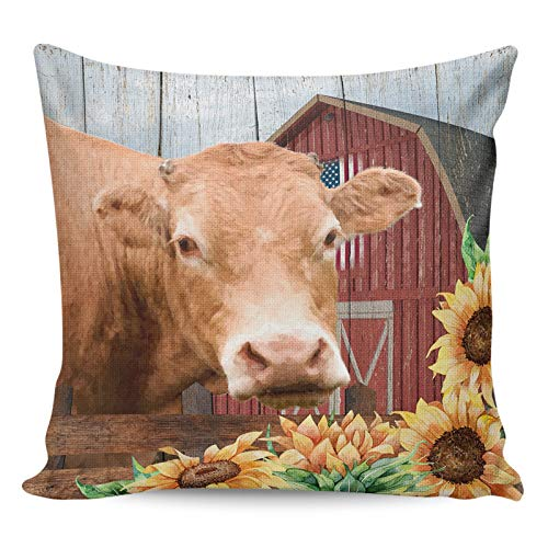 Litter Star Pillowcase Throw Pillow Covers Rustic Animal Cow Decorative Square Cushion Cover Pillow Cases for Sofa Couch Bedroom Living Room Red Wooden Barn with Sunflower 24x24in