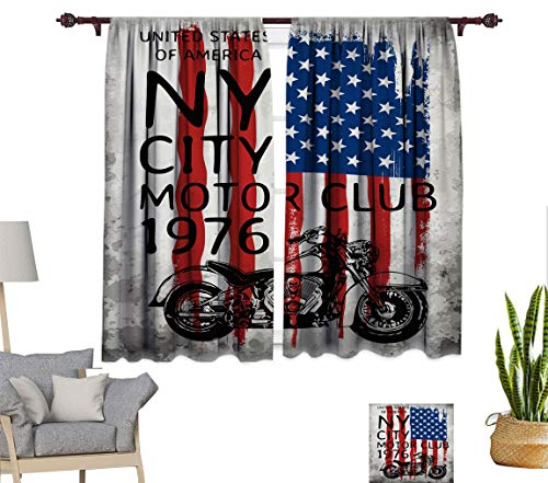 """Bluexotic American Flag Soundproof Curtain, NYC Motorcycle Club in 1976 on Grunge Background Window Treatment Panel for Bedroom, Each Panel 31.5"""" W x 72"""" L"""
