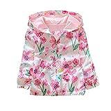 Loveble Kinder Mädchen Herbst/Frühling Tinte Floral Printing Hoodie Jacke Windbreaker Sonnenschutz Jacke Alter 2-7 Jahre
