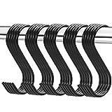 25 Piezas de Ganchos en Forma de S para Colgar Ganchos de Colgador Ganchos para Sartenes Ollas de Cocina (Negro)