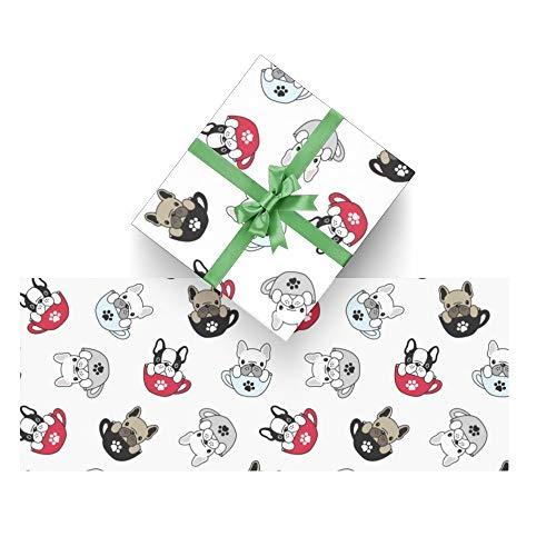 Dog French Bulldog Pug Wrapping Paper Bundle 3 Rolls High Gloss and Metallic Prints for Halloween, Christmas,Thanksgiving Da