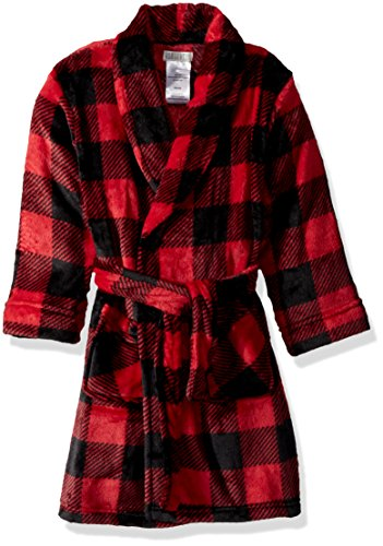 Komar Kids Boys' Big Printed Fleece Robe, Buffalo Plaid, Medium