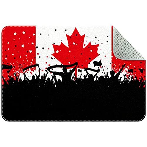 Yoliveya Felpudo, felpudo, felpudo, felpudo de fiesta, banderas canadienses, absorbentes, antideslizantes, alfombra de goma para la oficina en casa, 31 x 50 cm