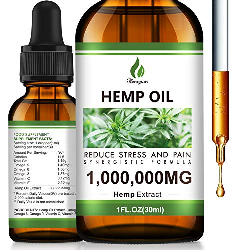 Hemyum Hemp Oil Drops 1,000,000 mg - Anxiety & Stress Relief - Omega 3-6-9 Skin - Sleep - 100% Organic, Vegan, Non-GMO