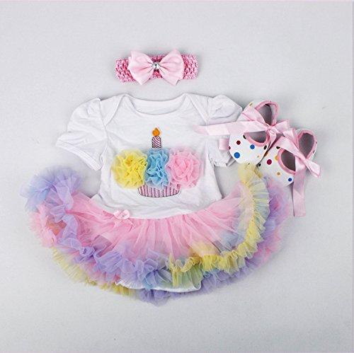 """NPK Hecho a mano Reborn Dolls Ropa Suministros Accesorio Para Muñecas De 20-22 """"Conjunto De Vestido De Dibujos Animados 3 en 1 (Pastel Colorido)"""