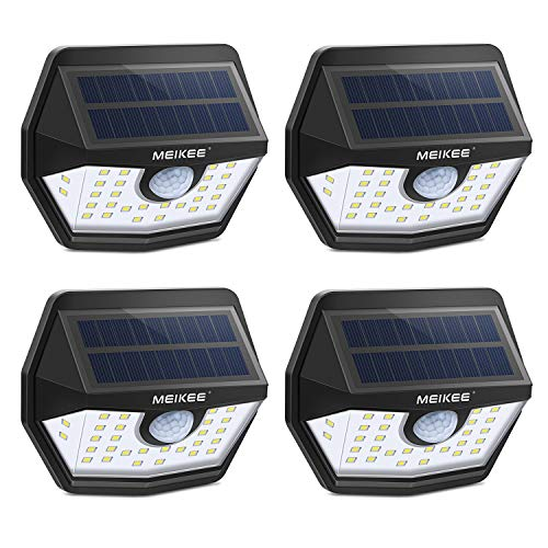 MEIKEE Solar Lights Outdoor, 30 LED Wireless IP65 Waterproof Motion Sensor Light,Easy to Install Solar Lights with 120° Wide Angle,LED Solar Lights Perfect for Patio,Yard,Garden,Garage(450 LM,4-Pack)
