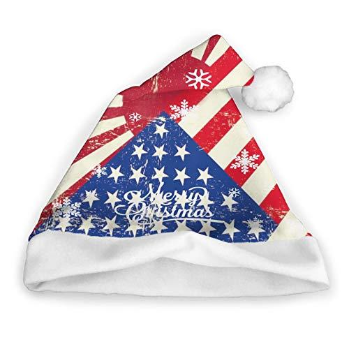 Sombrero de Pap Noel de la bandera del Grunge de la guerra de Estados Unidos y Japn Gorro de Pap Noel de Navidad de felpa corta con puos blancos Sombrero de Navidad de tela de felpa para adultos