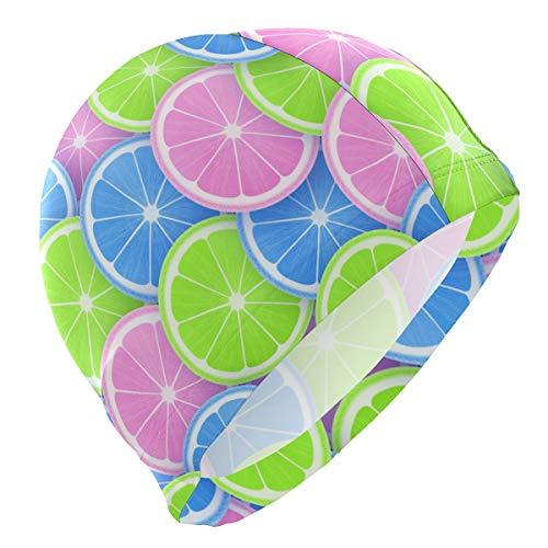 BOLIMAO Pop Color Style Citrus Lemon Orange Slices Pattern Swim Caps for Men High Elasticity Male Swimming Cap Women Swimming Pool Water Hats Unisex Adult Teens Youth Size