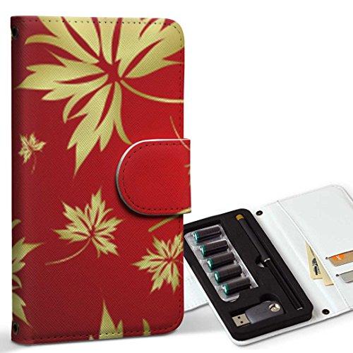 スマコレ ploom TECH プルームテック 専用 レザーケース 手帳型 タバコ ケース カバー 合皮 ケース カバー 収納 プルームケース デザイン 革 フラワー 植物 赤 ゴールド 003761
