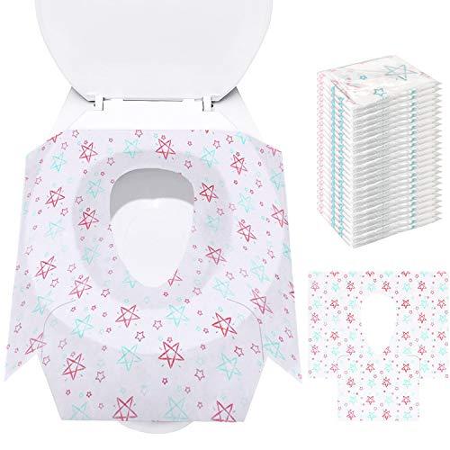 Potty Seat Cover - Coprisedili monouso per WC, confezioni extra large 24 confezioni, portatili confezionati singolarmente, perfetti per bambini piccoli e adulti Vasino allenamento a casa (Star)