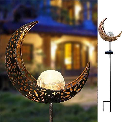 Solarleuchte Solarlampen für Garten Gartenleuchte Solar Mond Leuchte Aushöhlende Wegeleuchte mit Erdspieß Außen Beleuchtung Dekoration für Garten 1 PCS