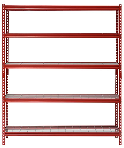 "Muscle Rack UR601872WD5-R 5-Shelf Steel Shelving Unit, 60"" Width x 72"" Height x 18"" Length, Red"