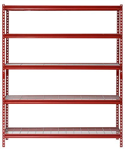 "Muscle Rack UR601872WD5-R 5-Shelf Steel Shelving Unit, 60"" Width x 72"" Height x 18"" Length, Red Alabama"