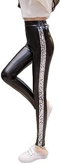 Vimoisa Women Faux Leather High Waisted Leggings Black Pants Footless Tights