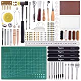 FEPITO 58 Pcs Leather Craft Tools DIY Leather Sewing Tools for Hand Sewing Stitching Leather Craft DIY Tool