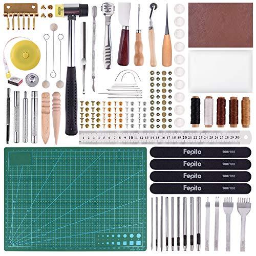 FEPITO 58 piezas de cuero herramientas de artesanía de bricolaje herramientas de costura de cuero para coser a mano costura artesanía de cuero herramienta de bricolaje (Tools)