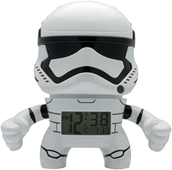 BulbBotz Star Wars Stormtrooper Kids Light Up Alarm Clock White Black Plastic 7 5 Inches Tall LCD Display Boy Girl Official