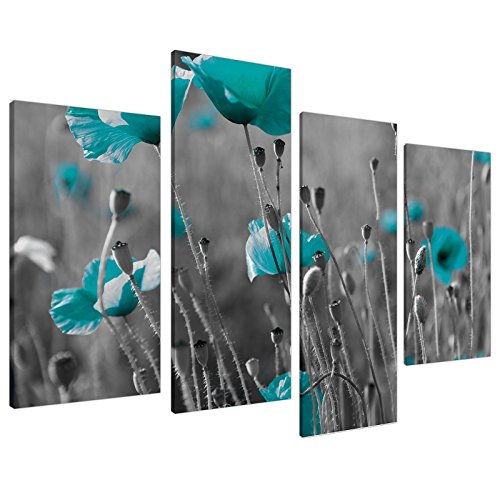 Extra Large Teal Flowers Floral Canvas Wall Art Prints Pictures 4139 by Wallfillers