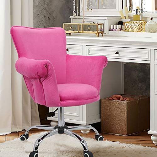 Magshion Office Desk Chair Bar Stool Beauty Nail Salon Spa Vanity Seat (Pink)